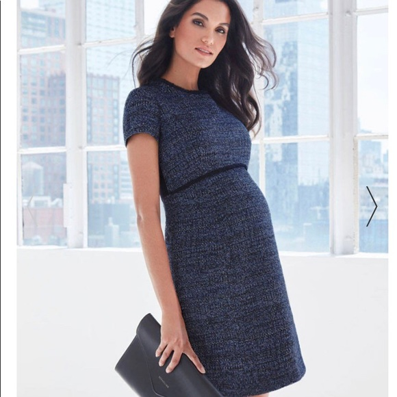 fb37fdd122744 Seraphine Dresses | Navy Blue Boucl Maternity Shift Dress | Poshmark